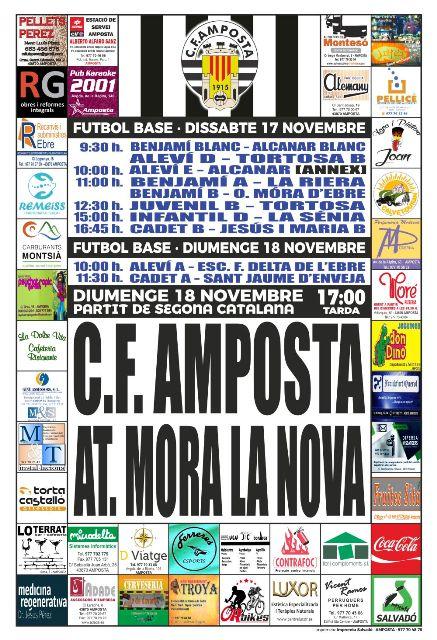 Jornada 12 SEGONA CATALANA GRUP 6. Diumenge 18 de novembre 17:00 hores: CF AMPOSTA - AT. MORA LA NOVA