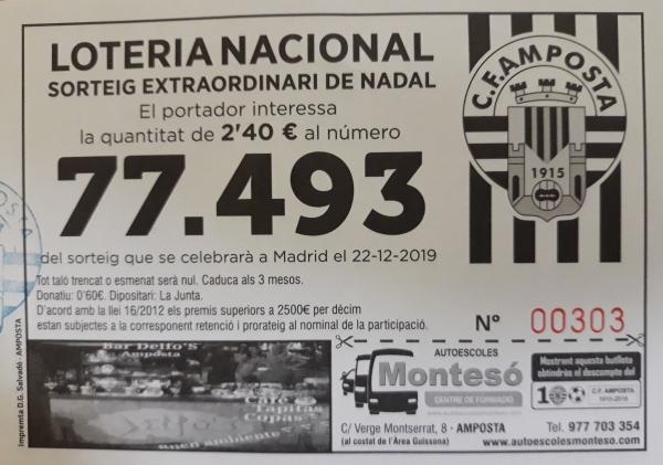 Club Futbol Amposta :  : Loteria Nadal 2019