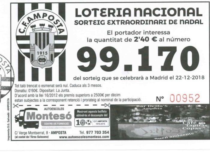 Club Futbol Amposta :  : Loteria sorteig de Nadal 2018